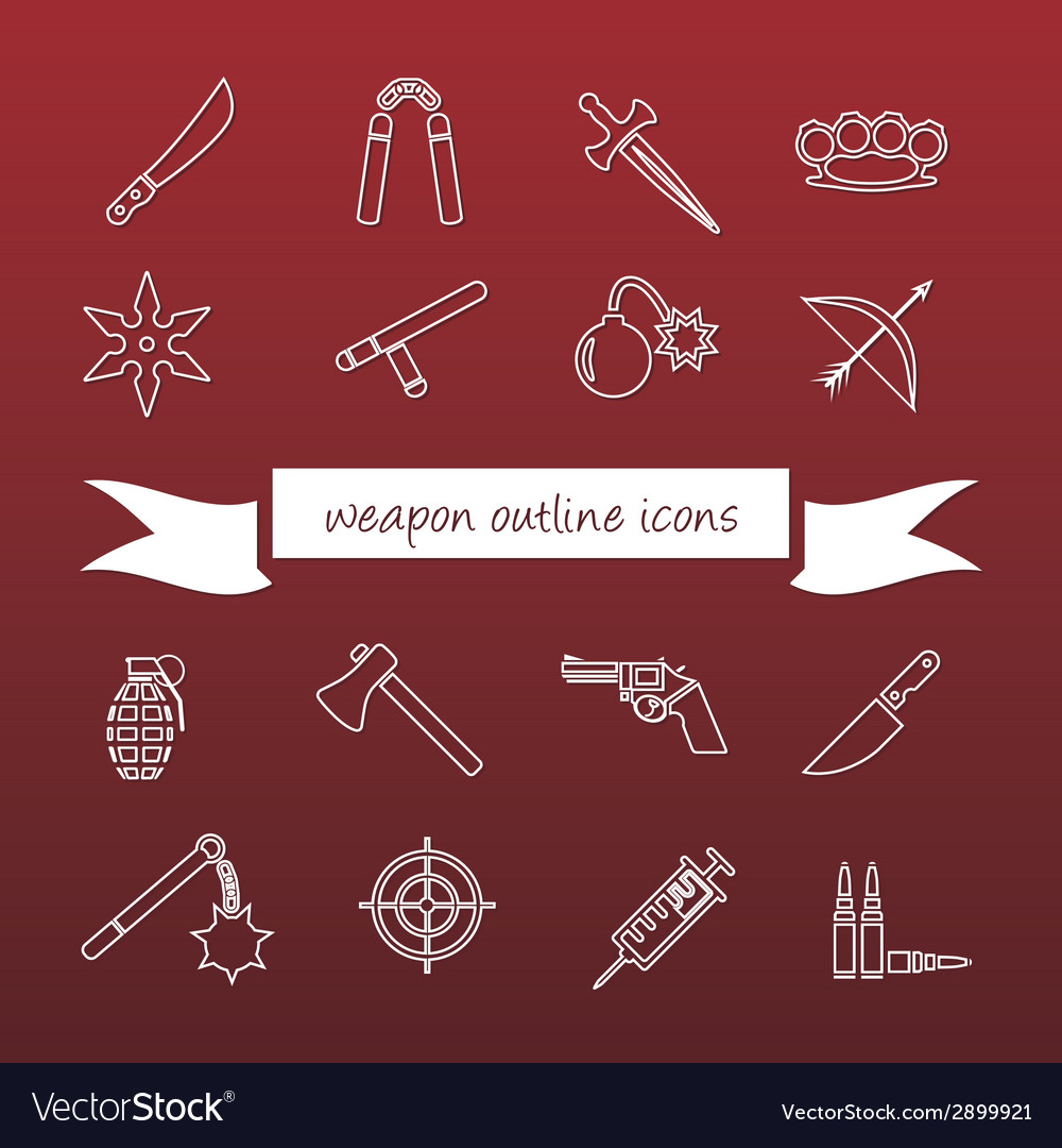 Weapon outline icons vector | Price: 1 Credit (USD $1)