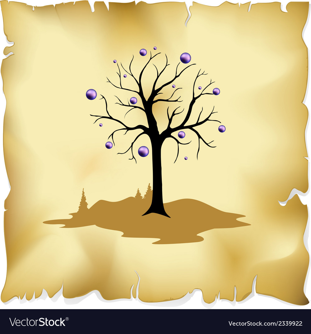 Abstract tree on old paper background vector | Price: 1 Credit (USD $1)