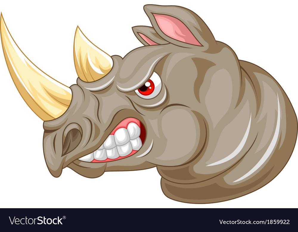 Angry rhino cartoon character vector | Price: 3 Credit (USD $3)