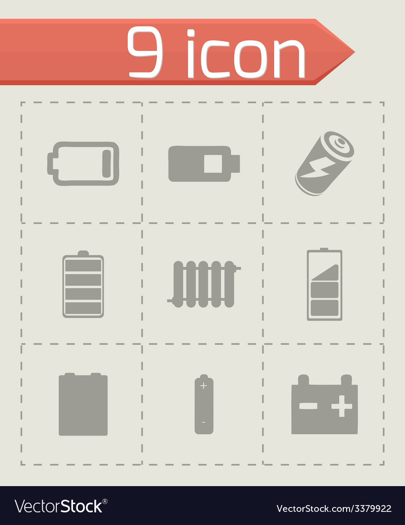 Batery icons set vector | Price: 1 Credit (USD $1)