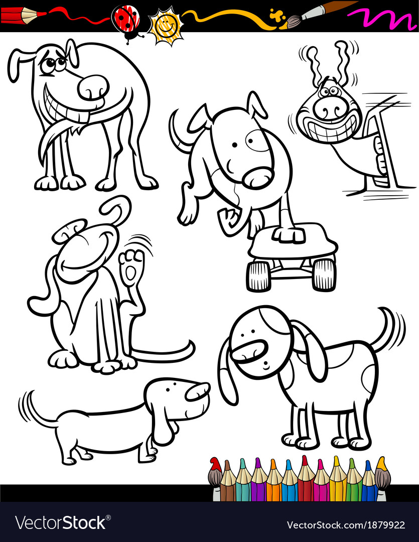 Cartoon dogs set for coloring book vector | Price: 1 Credit (USD $1)