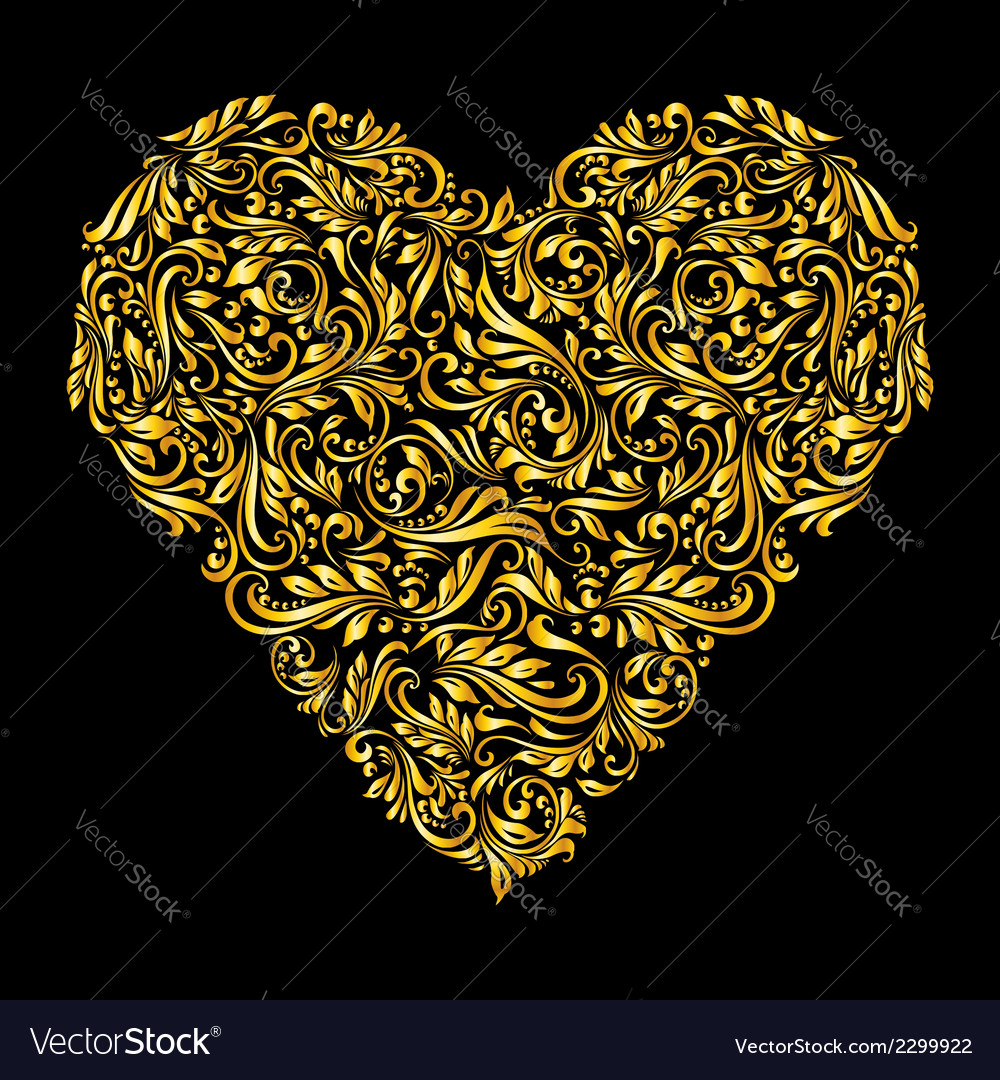 Decorated golden heart vector | Price: 1 Credit (USD $1)
