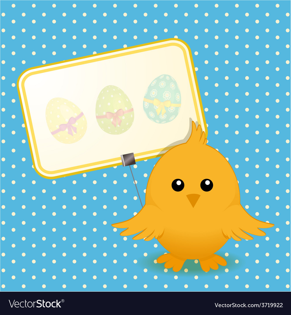 Easter chick and sign on blue background vector | Price: 1 Credit (USD $1)