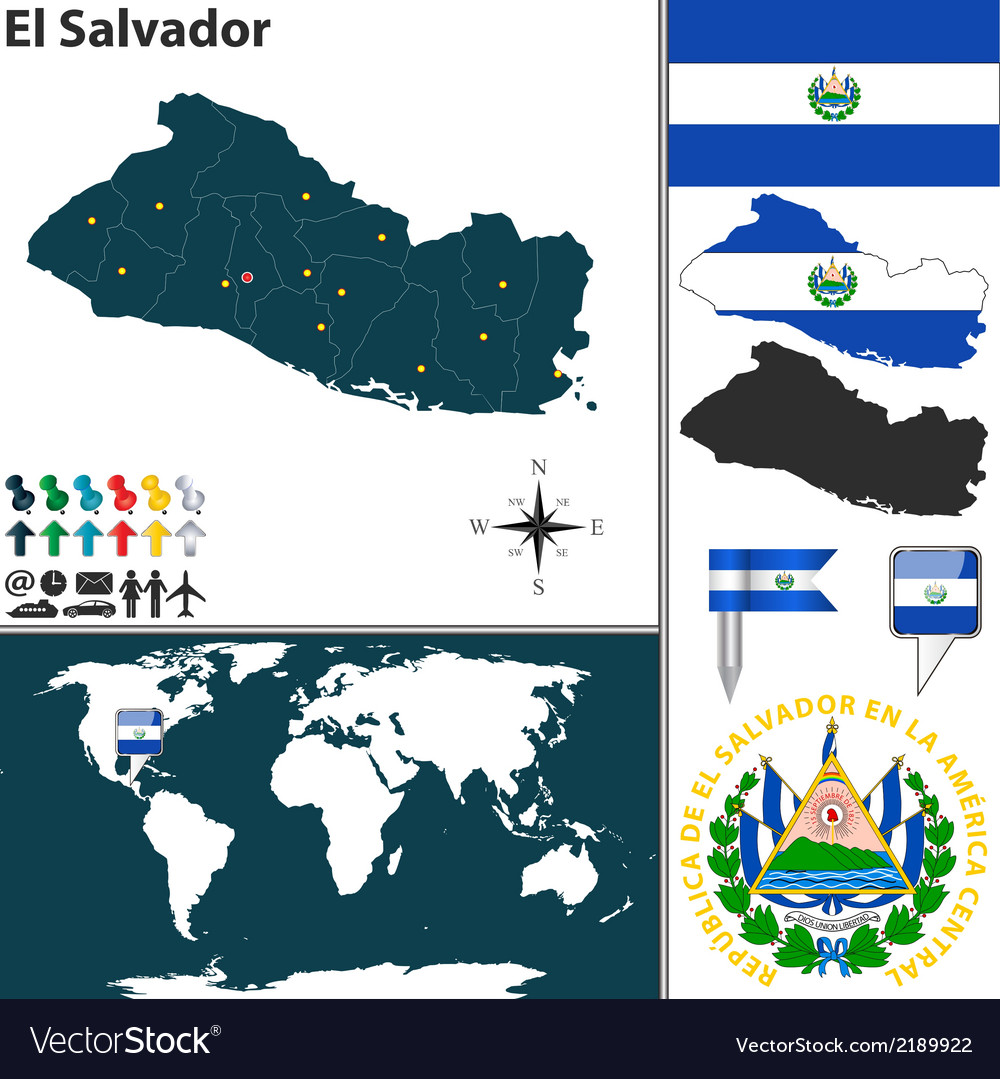 El salvador map world vector | Price: 1 Credit (USD $1)