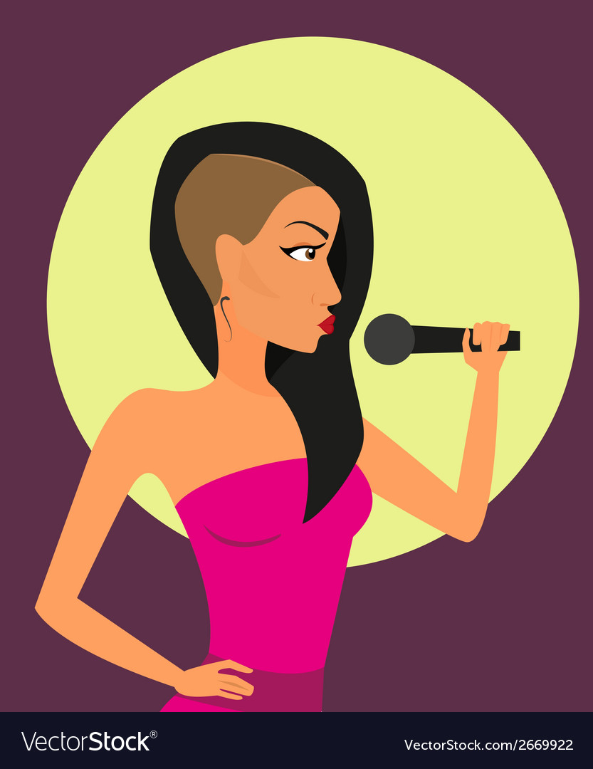 Female rock singer with microphone vector | Price: 1 Credit (USD $1)