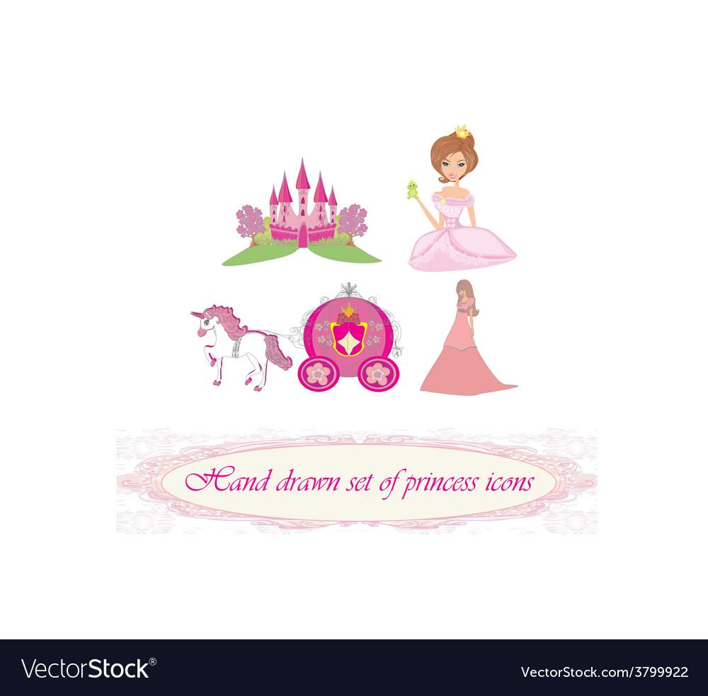 Hand drawn set of princess icons vector | Price: 1 Credit (USD $1)