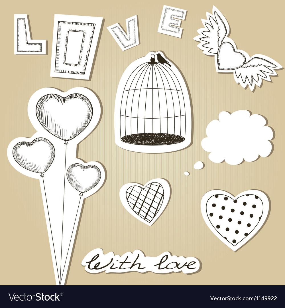 Hand-drawn scrap valentines day design elements vector | Price: 1 Credit (USD $1)