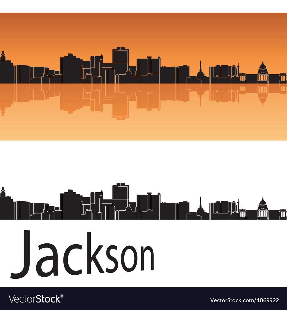 Jackson skyline in orange background vector | Price: 1 Credit (USD $1)