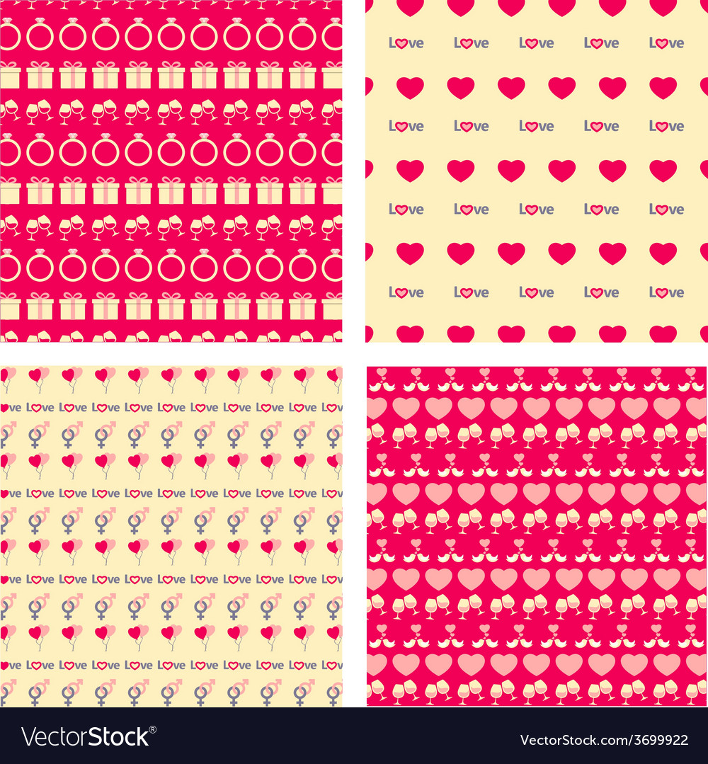 Love seamless pattern set vector | Price: 1 Credit (USD $1)
