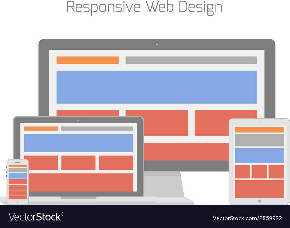 Responsive web design in different electronic vector | Price: 1 Credit (USD $1)