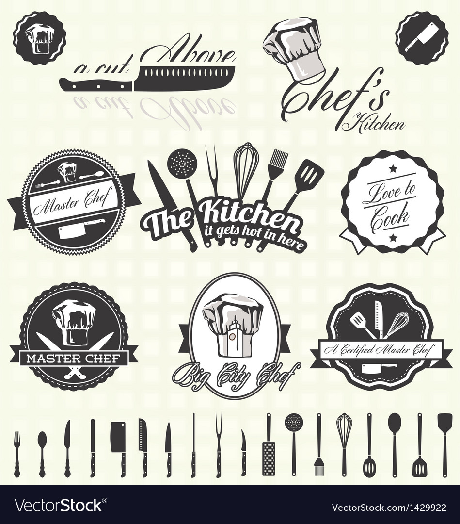 Retro style master chef labels vector | Price: 3 Credit (USD $3)