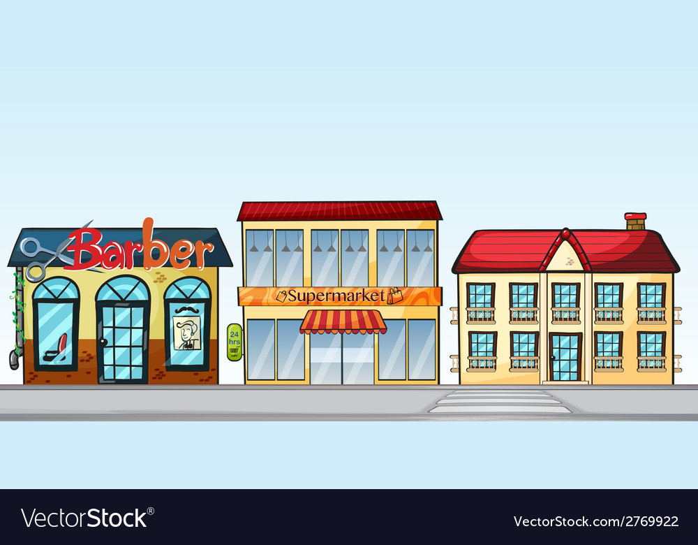 Shops on street vector | Price: 1 Credit (USD $1)