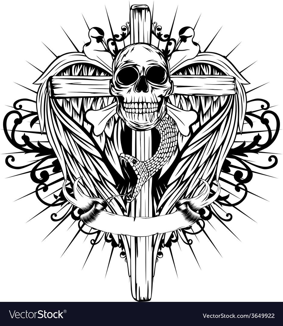 Skull cross wings vector | Price: 1 Credit (USD $1)