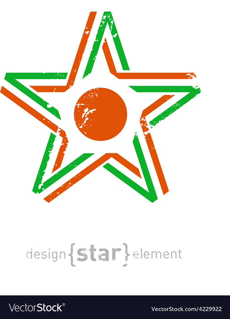 Star with niger flag colors symbol and grunge vector | Price: 1 Credit (USD $1)