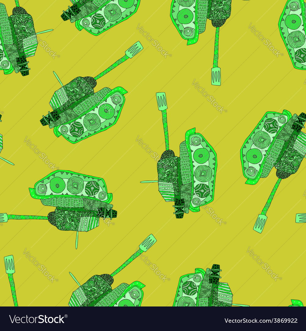 Tank seamless pattern 23 february vector | Price: 1 Credit (USD $1)