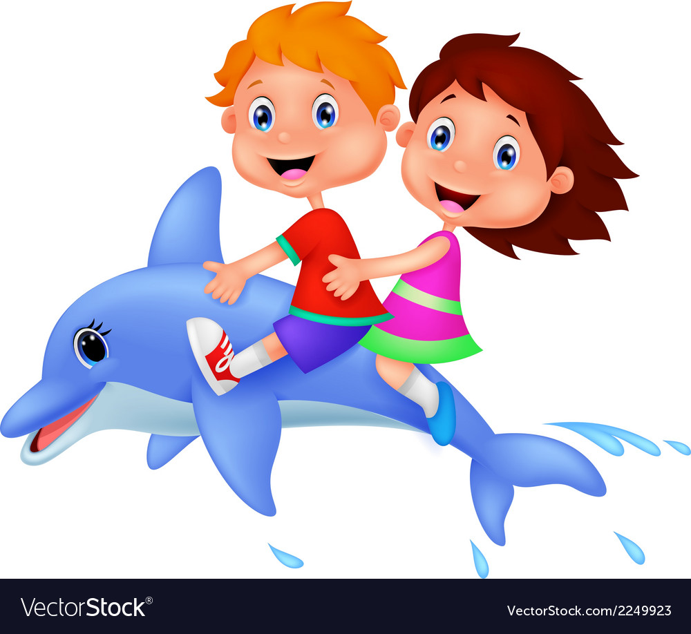 Cartoon boy and girl riding a dolphin vector | Price: 1 Credit (USD $1)