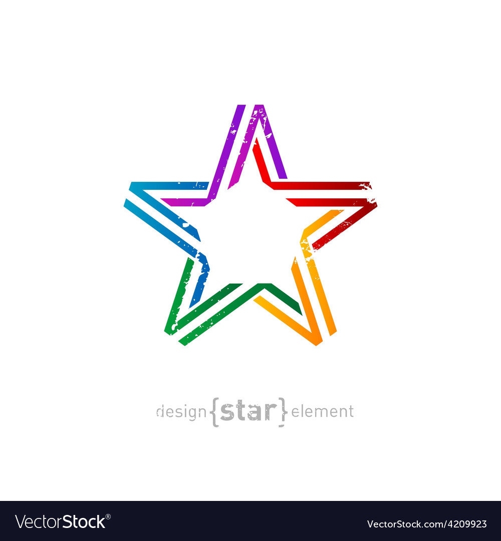 Colorful star from ribbon with vintage effect on vector | Price: 1 Credit (USD $1)