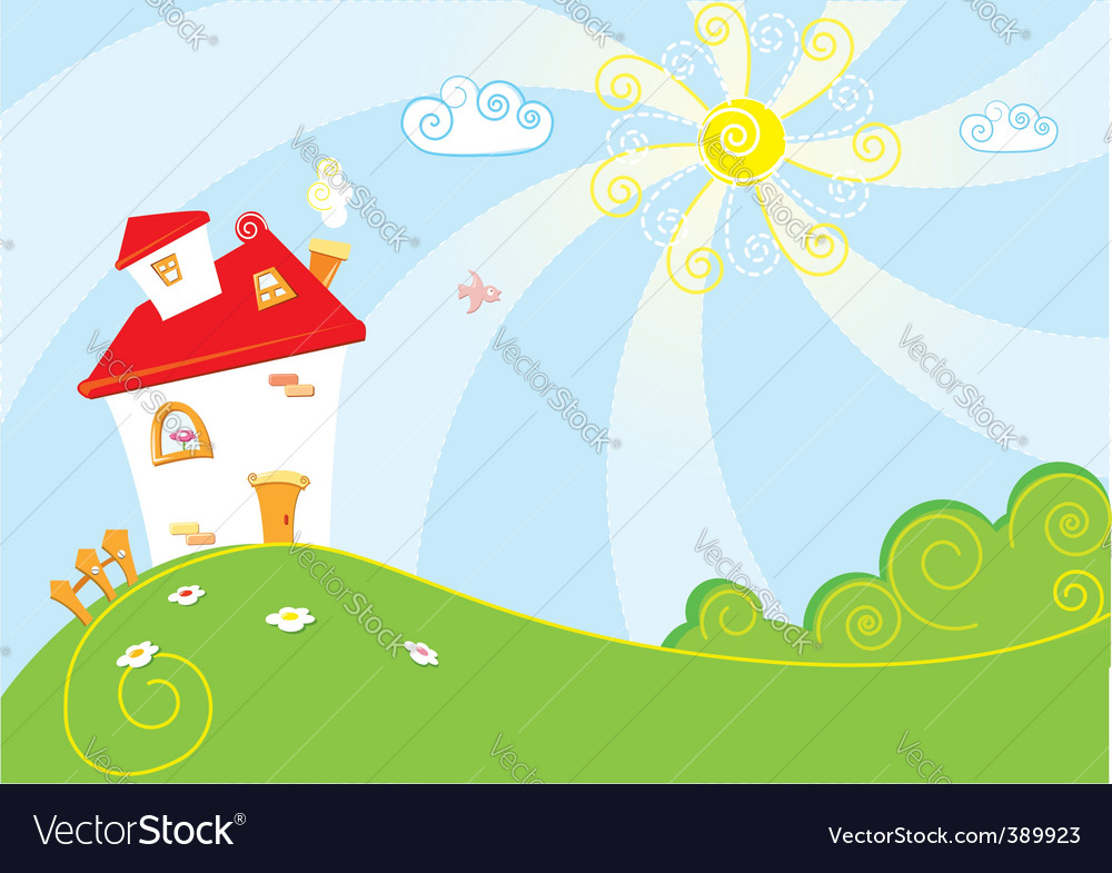 Home landscape vector | Price: 1 Credit (USD $1)