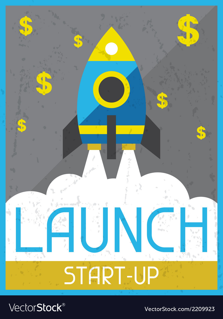Launch start-up retro poster in flat design style vector | Price: 1 Credit (USD $1)