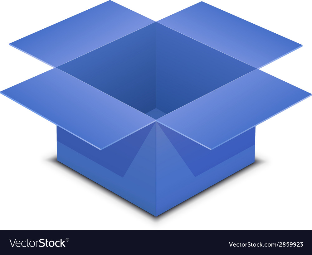 Open blue box on white vector | Price: 1 Credit (USD $1)