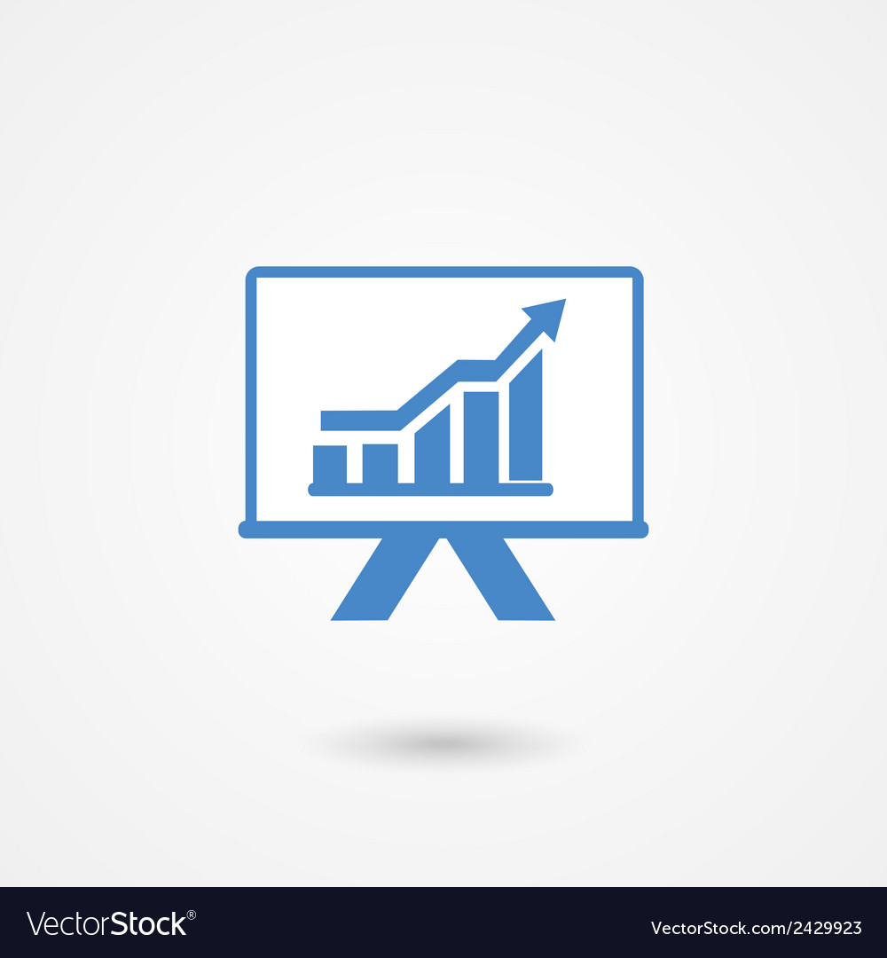 Presentation icon with a bar graph vector   Price: 1 Credit (USD $1)