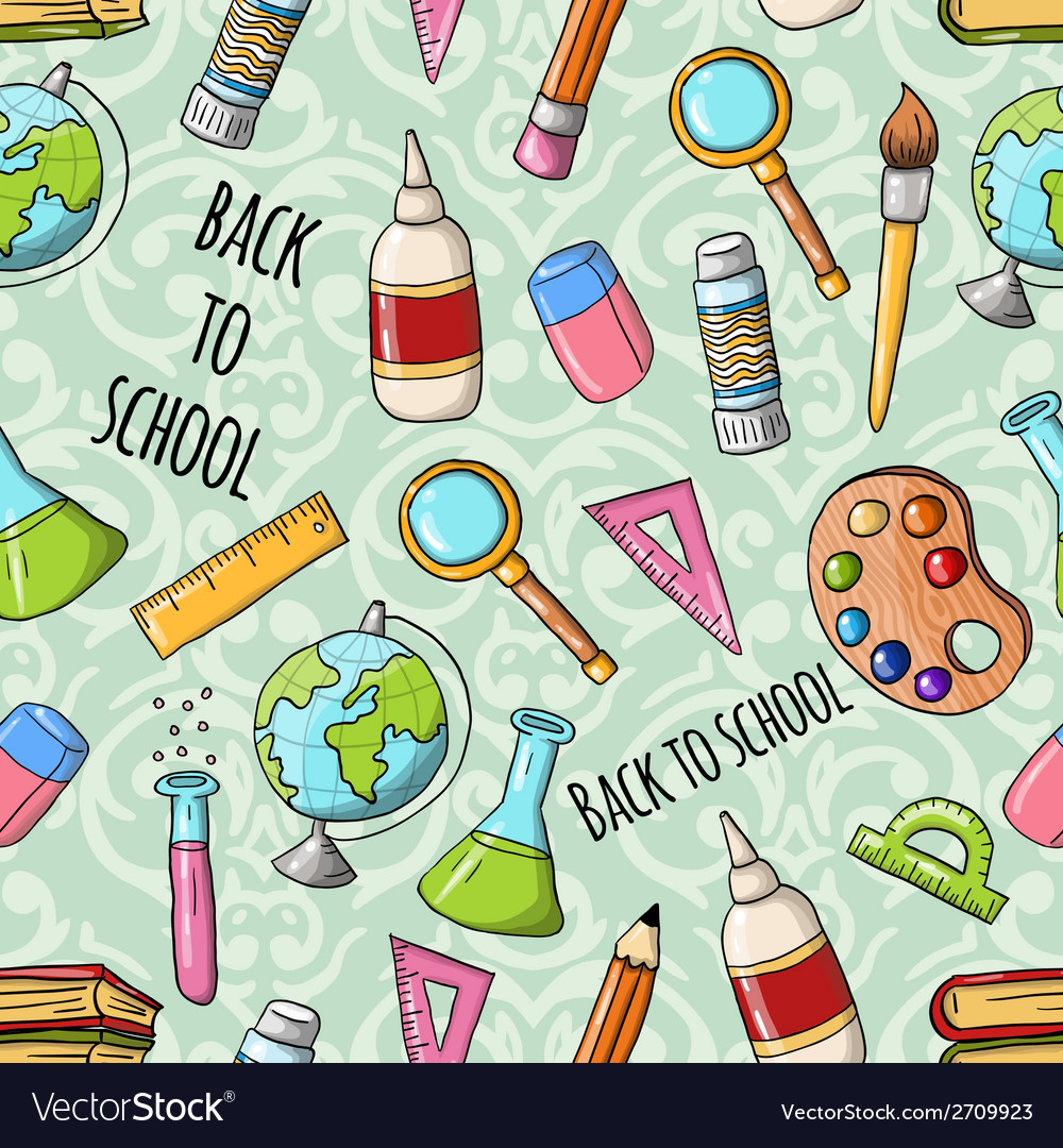 Seamless cute doodle back to school pattern vector | Price: 1 Credit (USD $1)