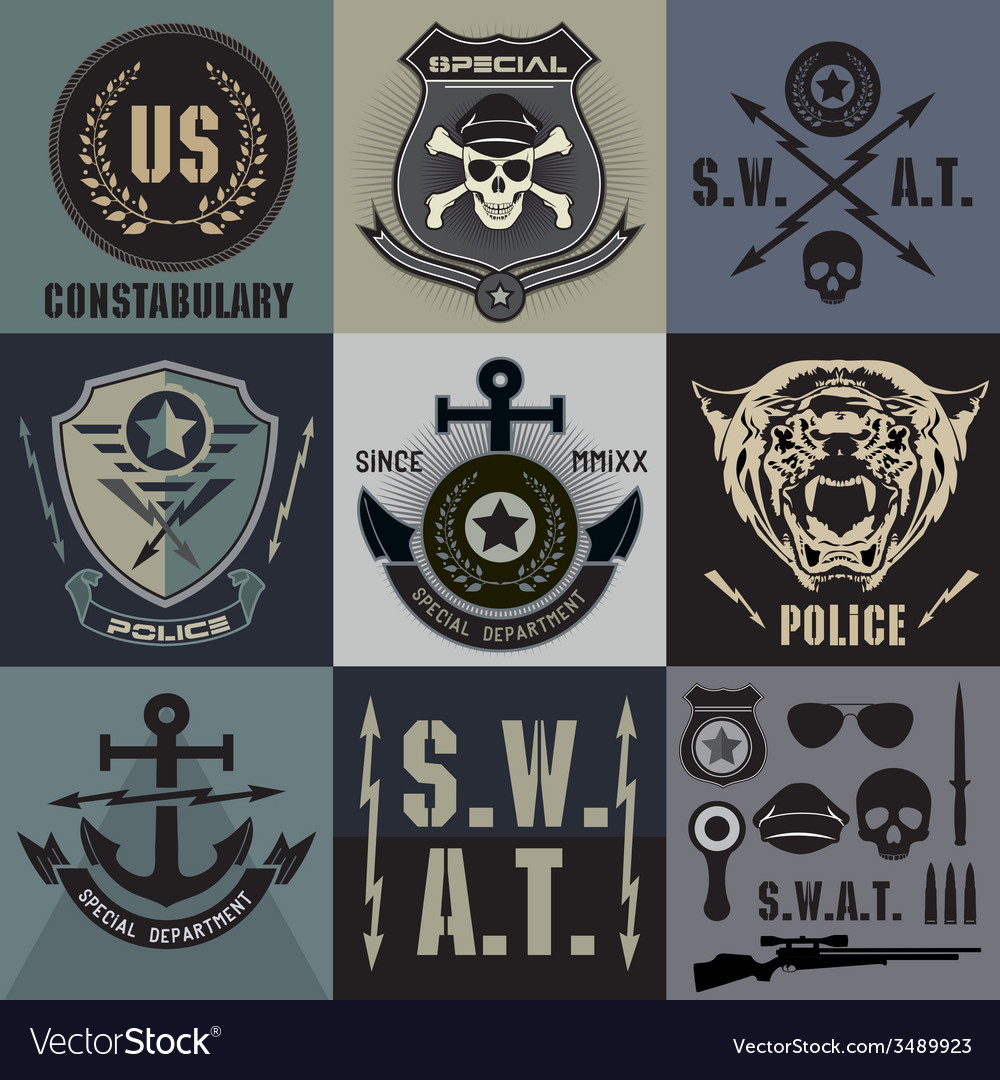 Set of police law enforcement badges and logo vector | Price: 1 Credit (USD $1)