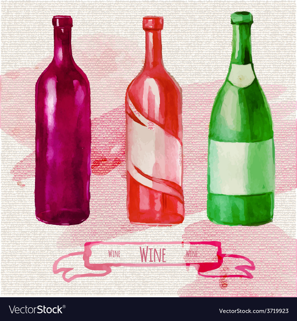 Watercolor artistic wine bottle vector | Price: 1 Credit (USD $1)