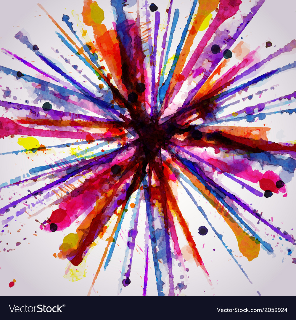 Abstract hand drawn watercolor background firework vector | Price: 1 Credit (USD $1)