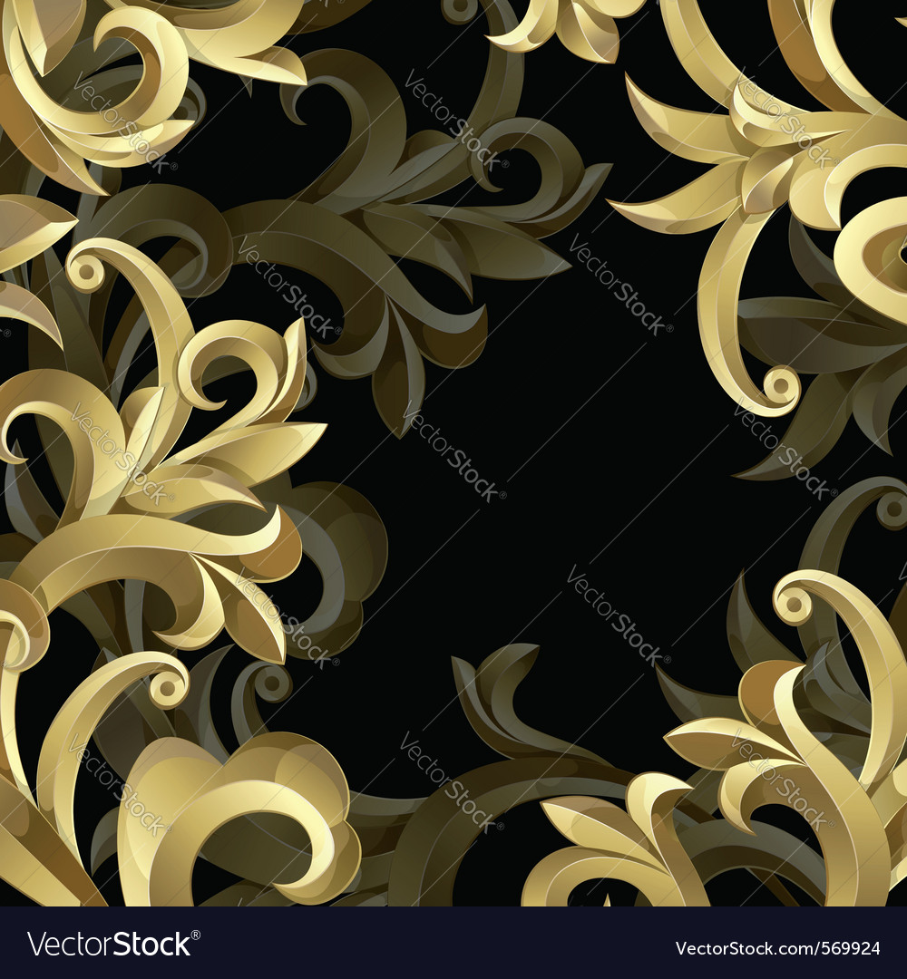 Black background with gold frame vector | Price: 1 Credit (USD $1)