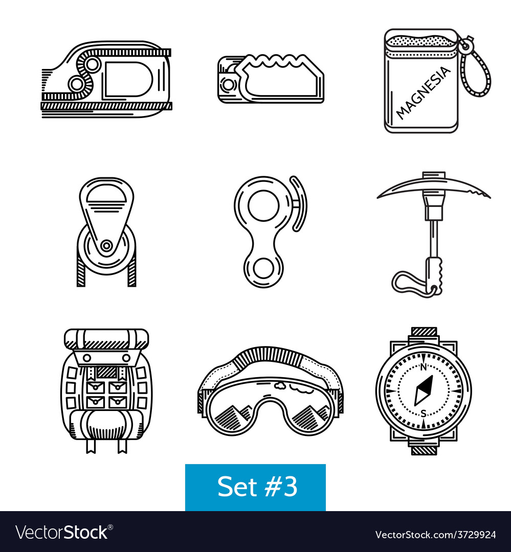 Black icons for rock climbing equipment vector | Price: 1 Credit (USD $1)