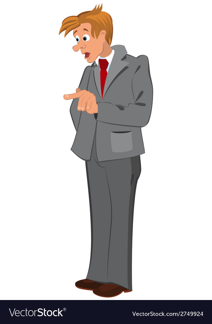 Cartoon man in gray suit and red tie vector | Price: 1 Credit (USD $1)