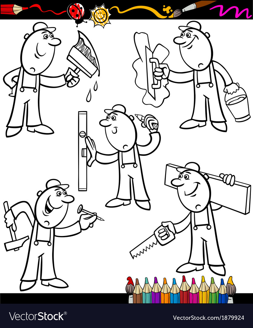 Cartoon workers set for coloring book vector | Price: 1 Credit (USD $1)