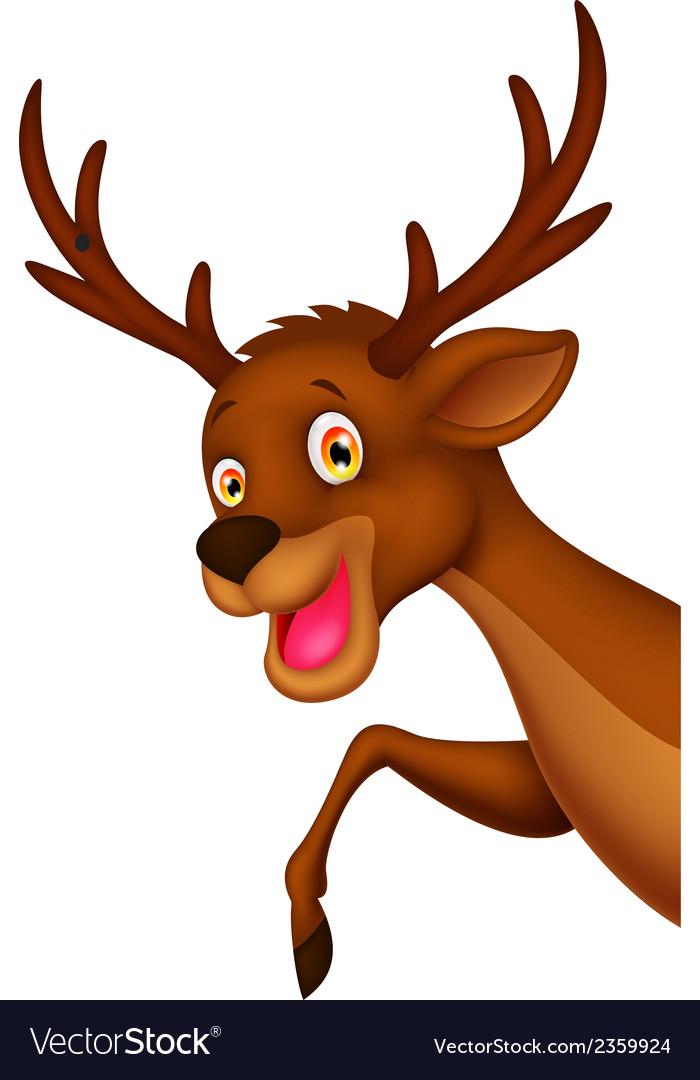 Cute cartoon deer waving vector | Price: 1 Credit (USD $1)