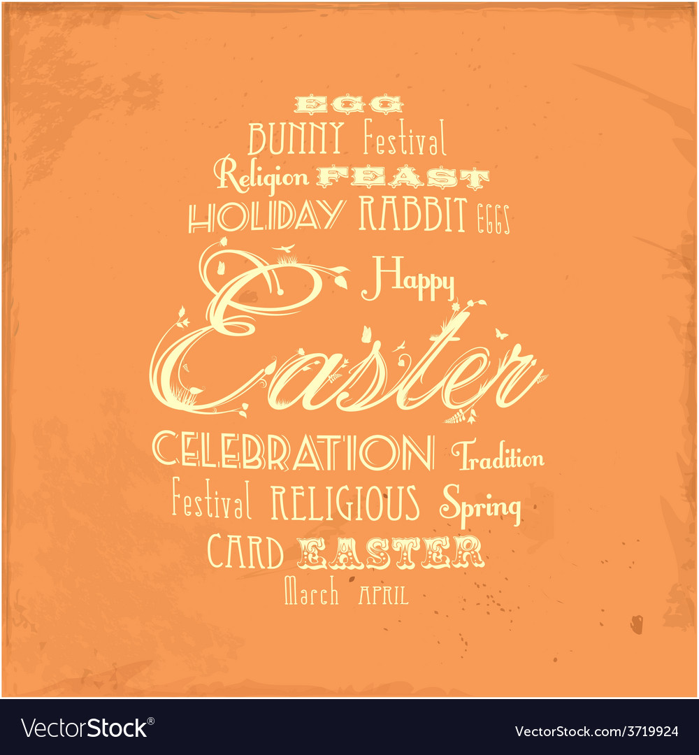 Easter distressed background on orange vector | Price: 1 Credit (USD $1)