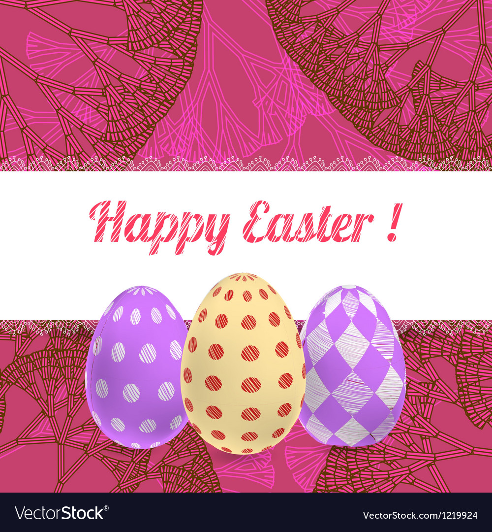 Easter pink background card with ornament eggs vector | Price: 1 Credit (USD $1)