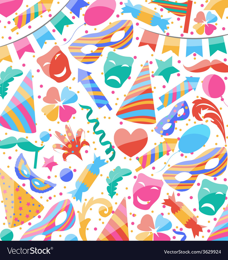 Festive wallpaper with carnival and party colorful vector | Price: 1 Credit (USD $1)