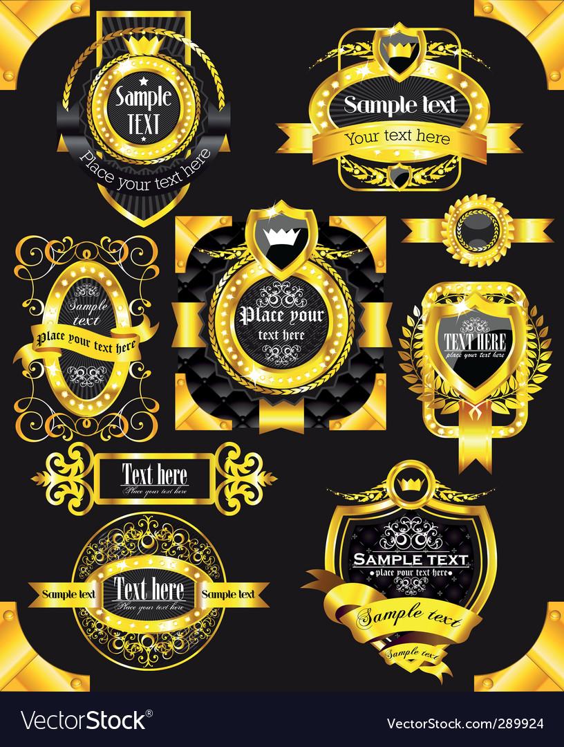 Golden vintage black labels vector   Price: 1 Credit (USD $1)