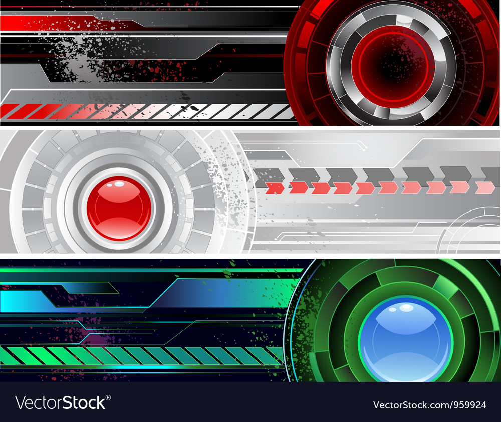 Horizontal a banner with the abstract mechanism vector | Price: 1 Credit (USD $1)