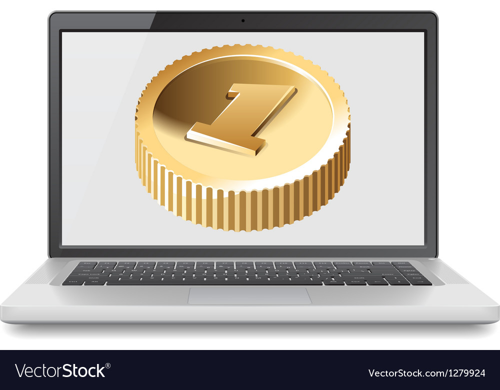 Laptop and golden coin vector | Price: 1 Credit (USD $1)