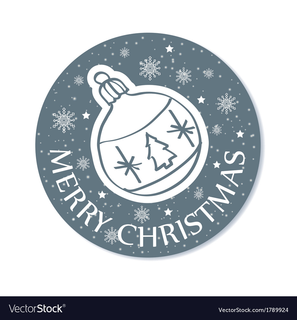 Round christmas greeting card with ball grey vector   Price: 1 Credit (USD $1)
