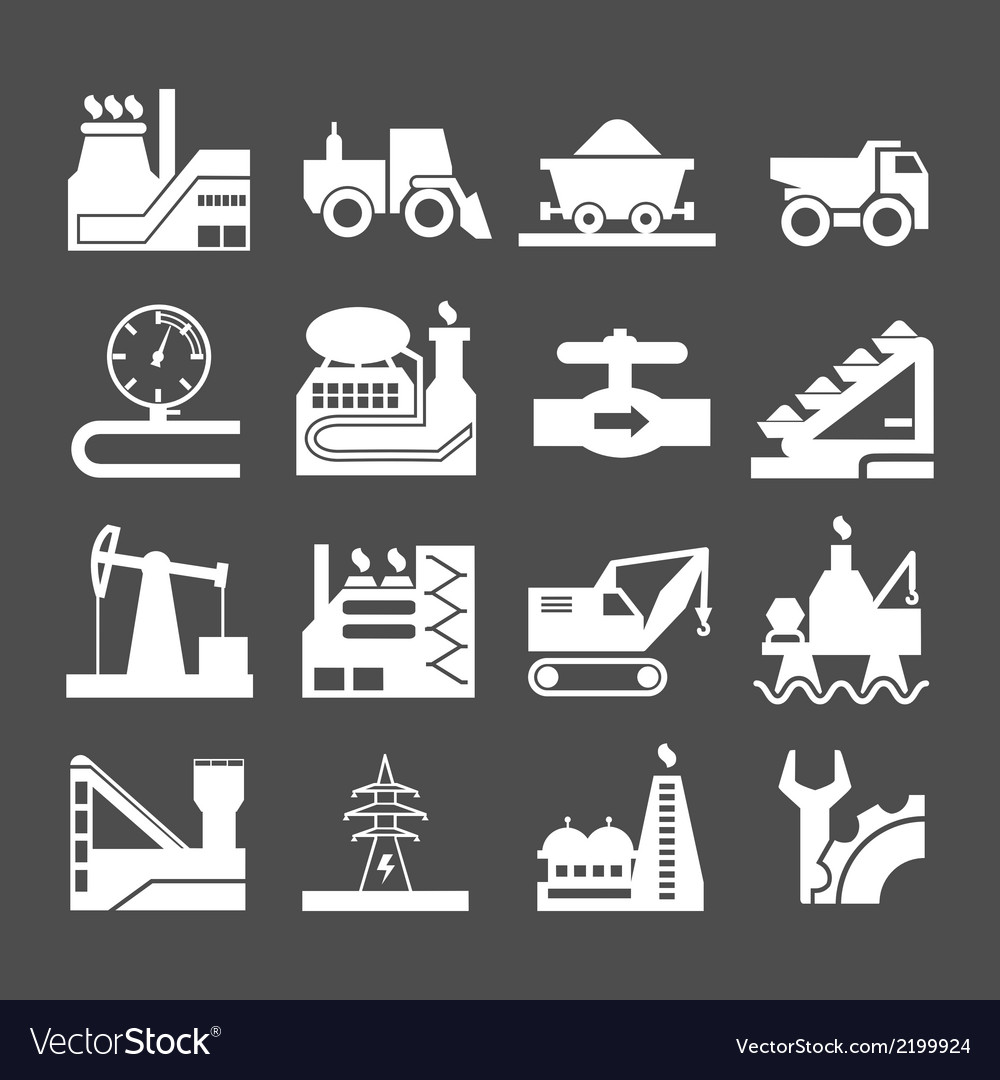 Set icons of industrial vector | Price: 1 Credit (USD $1)