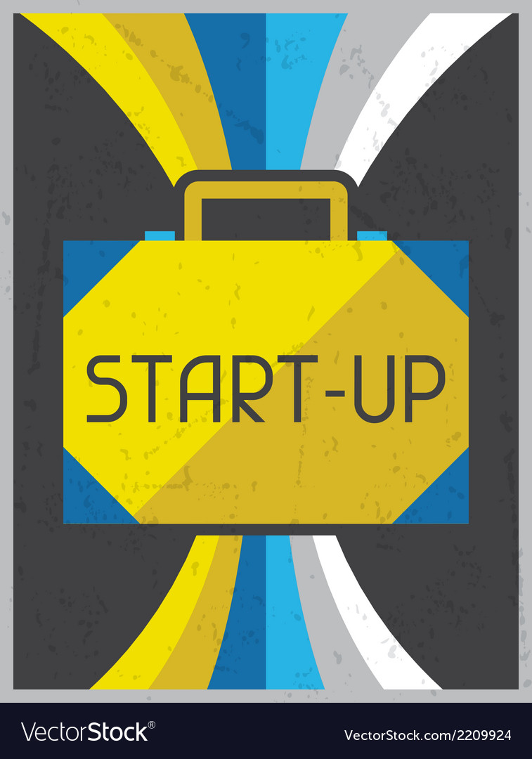 Start-up retro poster in flat design style vector | Price: 1 Credit (USD $1)