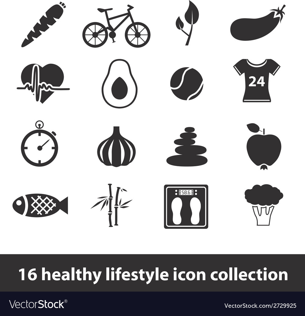 16 healthy lifestyle icon collection vector | Price: 1 Credit (USD $1)