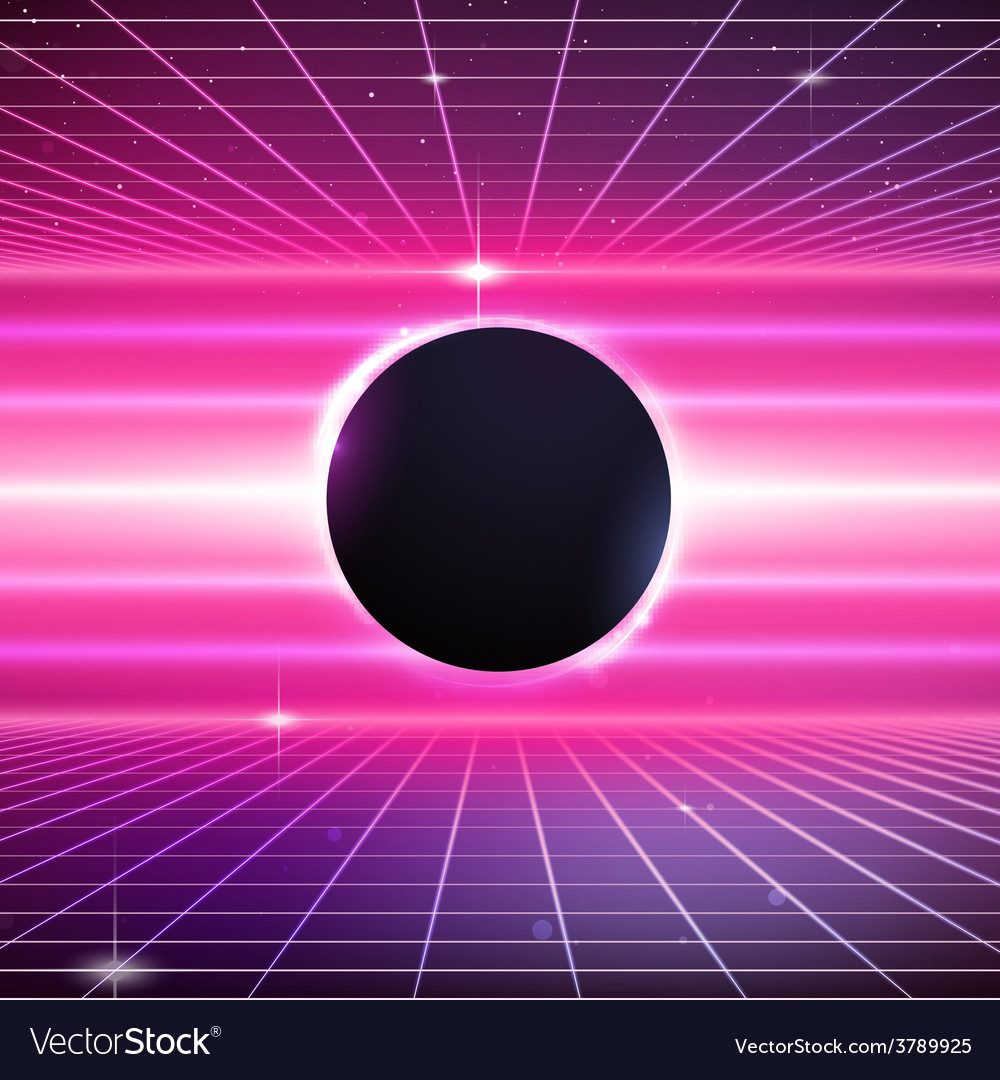 80s retro sci-fi background vector | Price: 1 Credit (USD $1)