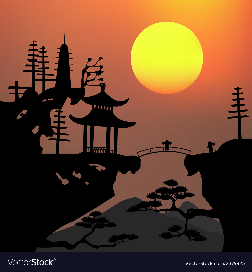 Asian landscape3 vector | Price: 1 Credit (USD $1)