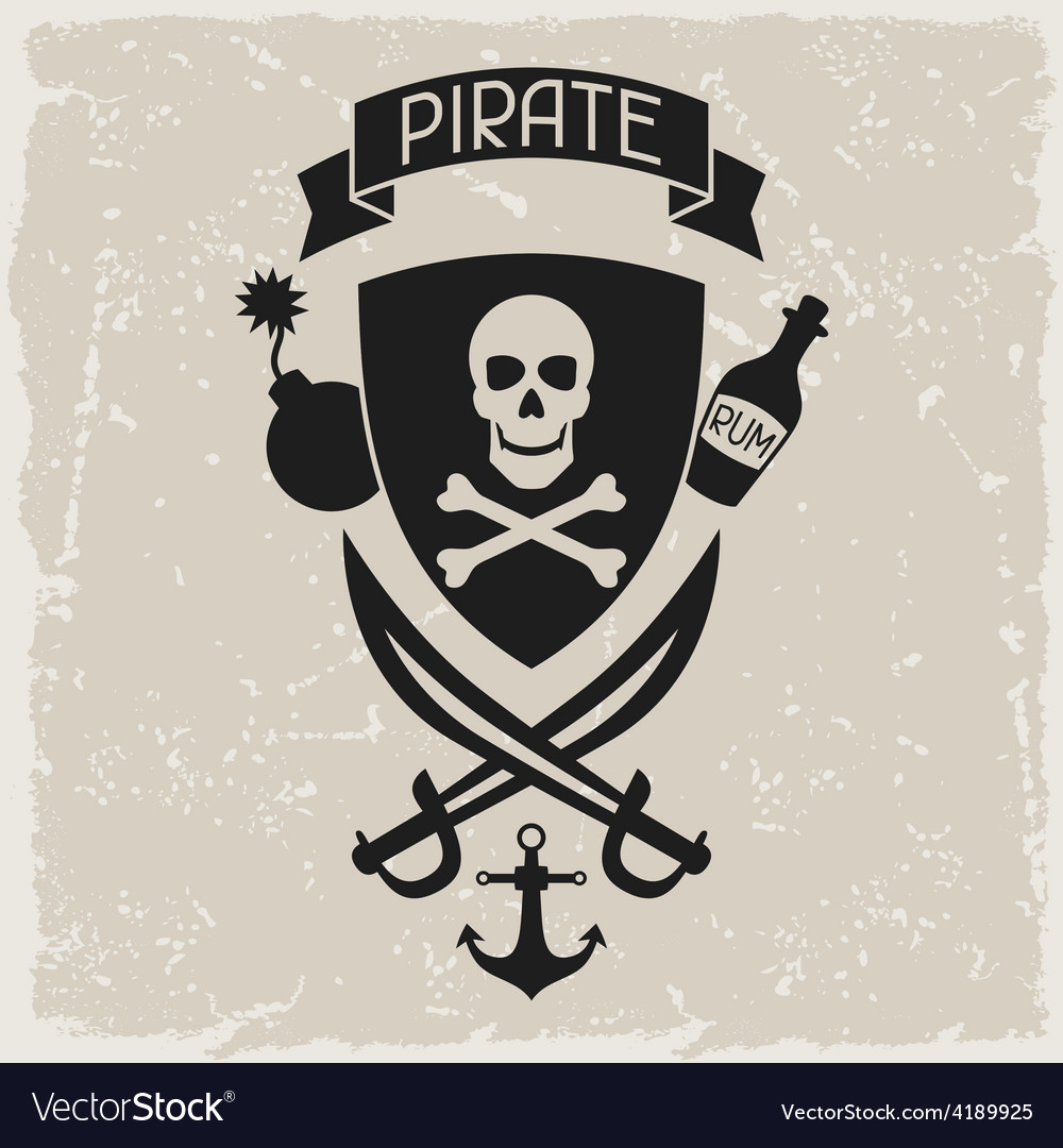 Background on pirate theme with objects and vector | Price: 1 Credit (USD $1)
