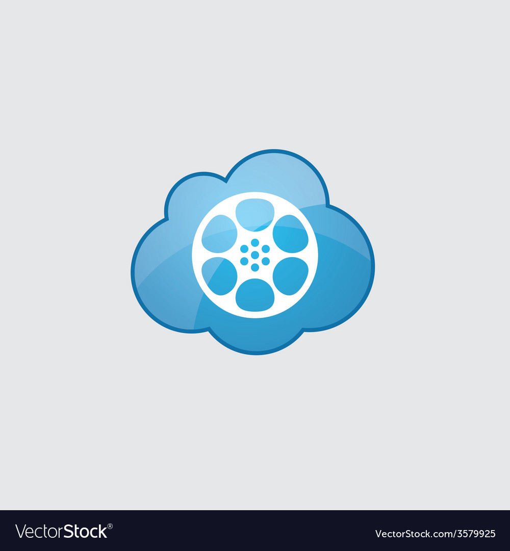 Blue cloud video film icon vector | Price: 1 Credit (USD $1)