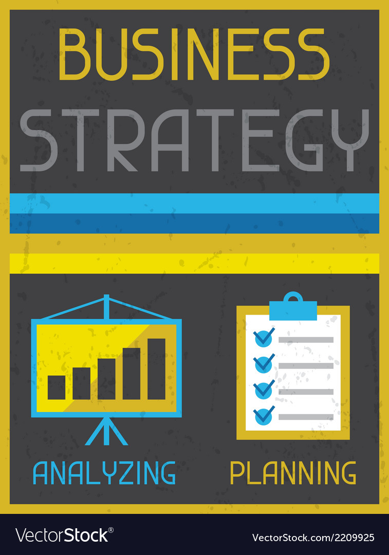 Business strategy retro poster in flat design vector | Price: 1 Credit (USD $1)