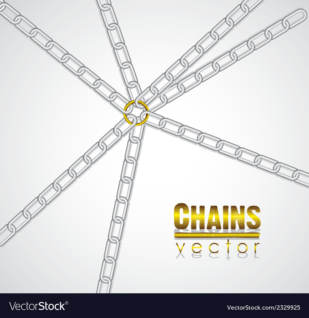 Chains linked by golden link in the center vector | Price: 1 Credit (USD $1)